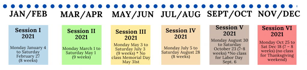 Sessions 2021 calender
